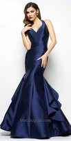 Mac Duggal Keyhole Back Ruffled Fit and Flare Evening Gown