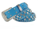 Sitong Women's fashion Crystal Rhinestone wide leather belt