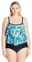 Maxine Of Hollywood Women's Plus Size Wild Side Double-Tier One Piece Swimsuit