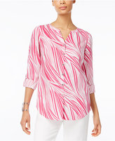 JM Collection Wavy-Print Roll-Tab Blouse, Created for Macy's