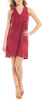 Sugar Lips Sugarlips Faux Suede Sleeveless V-Neck Studded Shift Dress