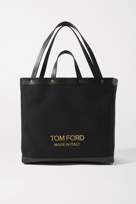 Tom Ford T Screw Shopper Medium Leather-trimmed Canvas Tote - Black