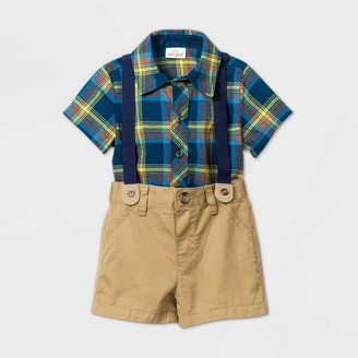 Cat & Jack Baby Boys' Short Sleeve Plaid Suspender Top & Bottom Set - Cat & JackTM