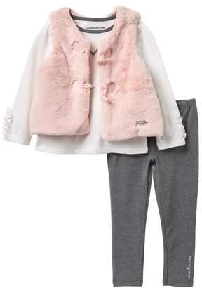 Calvin Klein 3-Piece Faux Fur Vest Set (Little Girls)
