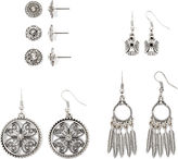 Arizona Clear Stone Textured Silver-Tone 6-pr. Earring Set
