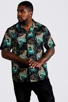BoohoomanBoohooMAN Mens Black Big & Tall Cheetah Print Revere Collar Shirt, Black