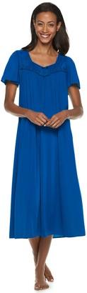 Miss Elaine Women's Petite Essentials Short Sleeve Night Gown