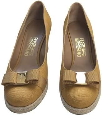 Salvatore Ferragamo Yellow Cloth Heels