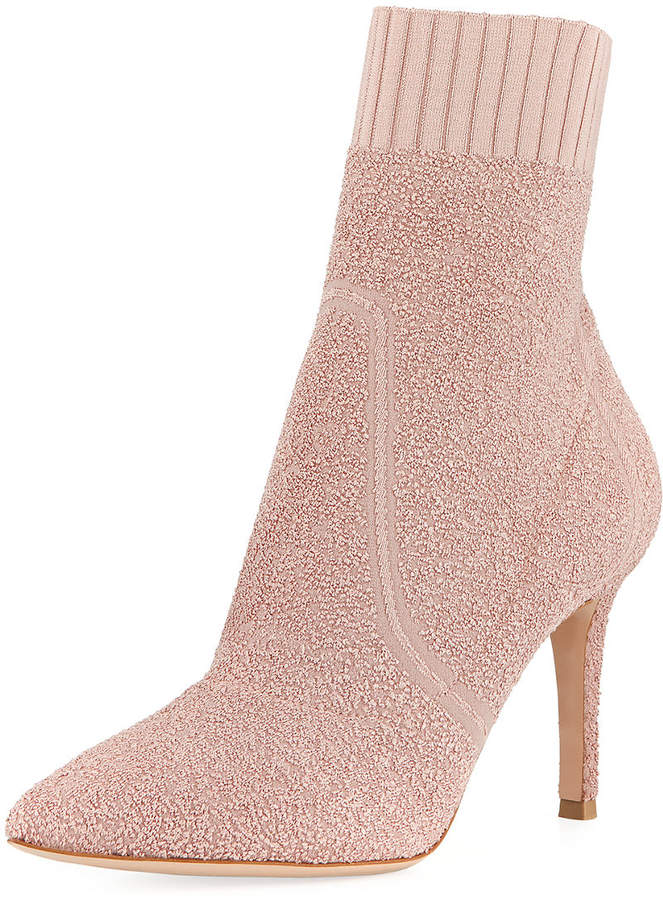 Gianvito Rossi Glitter Boucle Knit Pull-On Bootie