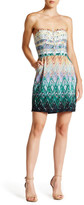Charlie Jade Strapless Print Silk Dress