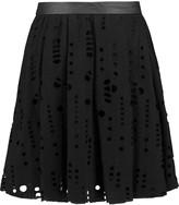 Maje Laser-cut wool-blend mini skirt