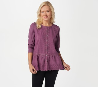 Logo by Lori Goldstein LOGO Lavish by Lori Goldstein Button-Front Top with Knit Sleeves