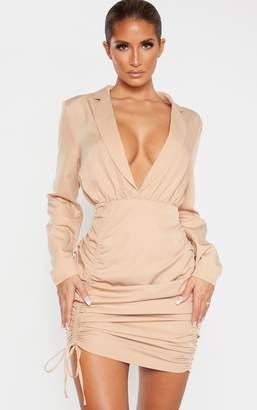 PrettyLittleThing Stone Woven Ruched Deep Plunge Blazer Dress