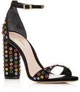 Schutz Women's Marcelle Embellished Suede High Block Heel Sandals