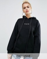 Adolescent Clothing Valentines Oversized Boyfriend Hoodie With Kiss Embroidery