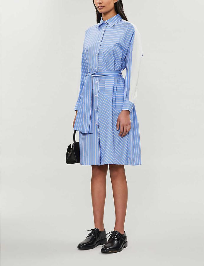 Maje Roxelle striped cotton-poplin dress