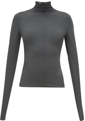 Bottega Veneta Zipped High-neck Top - Dark Green