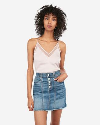 Express High Waisted Exposed Button Front Frayed Denim Mini Skirt