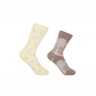 Peper Harow   Made In England Cream Leaf & Mink Delicate Women'S Socks 2 Pack