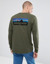 Patagonia Long Sleeve Top With P-6 Back Logo Print In Dark Green
