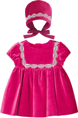 Mayoral Girl's Velvet Lace Short-Sleeve Dress, Size 4-18 Months