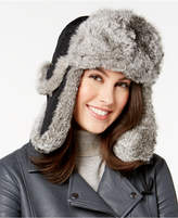 Surell Rabbit Fur Trim Quilted Trooper Hat