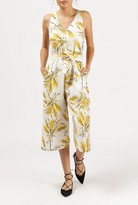 Azalea Curacao Floral Tie Waist Jumpsuit
