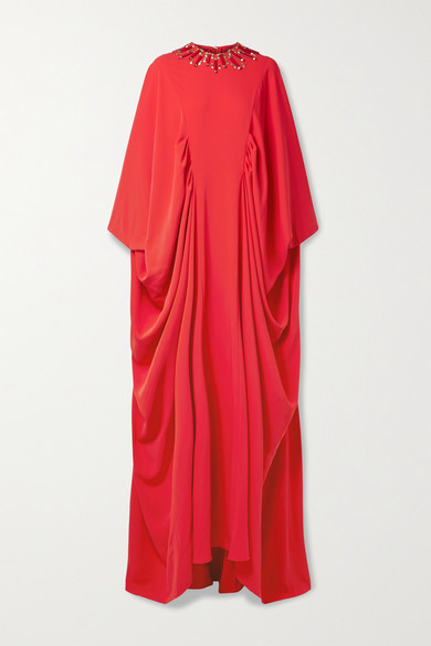 Reem Acra Draped Embellished Crepe De Chine Gown - Crimson
