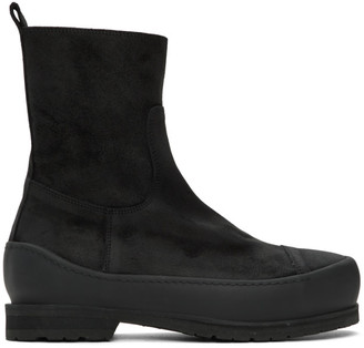Ann Demeulemeester Black Greased Suede Zip-Up Boots