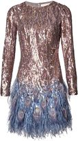 Matthew Williamson Blue Liquid Sequin Peacock Feather Dress