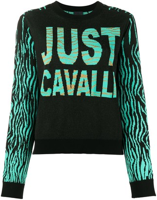 Just Cavalli Color-Block Intarsia Knit Jumper