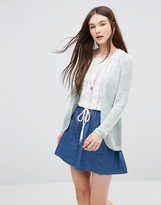 Only Popcorn Textured Cardigan In Blue
