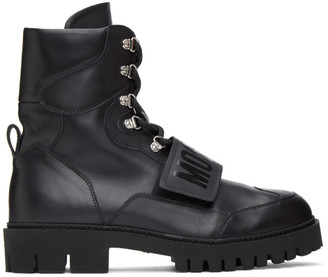 Moschino Black Logo Strap Boots