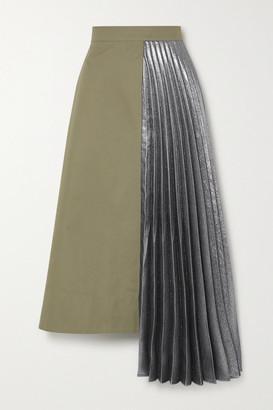 ARTCLUB Hermes Asymmetric Pleated Cotton And Lame Midi Skirt - Army green