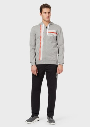 Ea7 Hooded Tracksuit With Contrasting Stripe