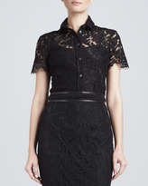 Burberry Scallop-Sleeve Lace Blouse, Black