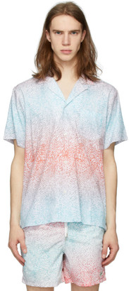 Bather Blue and Pink Gradient Cheetah Camp Shirt
