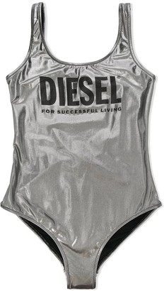 Diesel TEEN logo lame one-piece swimsuit