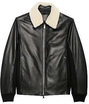 Theory Men's Casse Heavytyler Shearling-Collar Leather Bomber