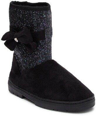 Bebe Microsuede Glitter Faux Fur Winter Boot