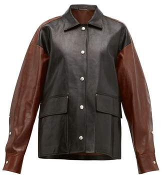 Jil Sander Colour Block Leather Jacket - Womens - Black Brown