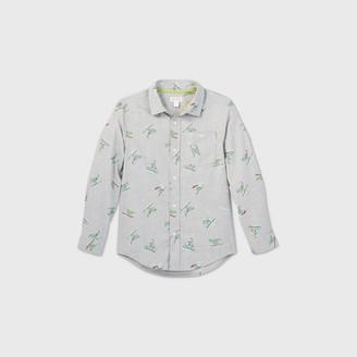 Cat & Jack Boys' Dino Long Sleeve Button-Down Shirt - Cat & JackTM