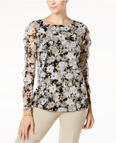 Charter Club Floral-Print Ruffled-Sleeve Mesh Top, Created for Macy's