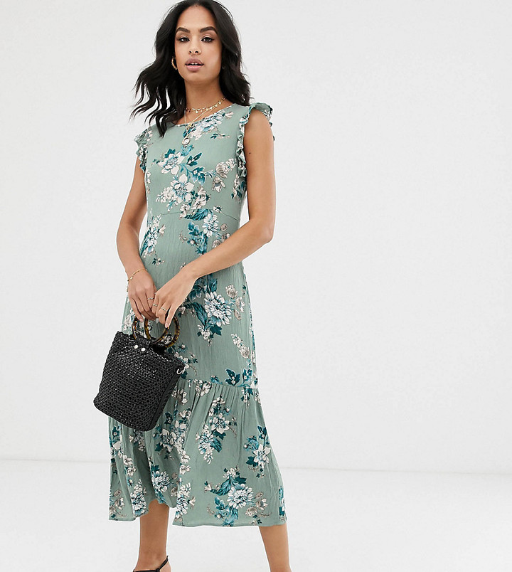 Vila tiered floral maxi dress-Blue