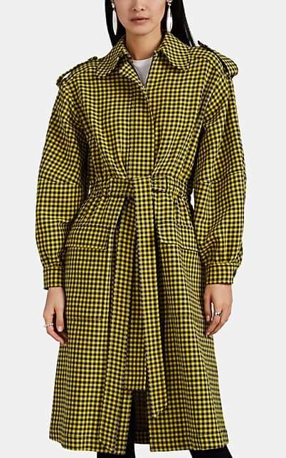 Derek Lam Women's Checked Cotton-Wool Trench Coat - Yellow