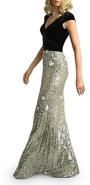 Basix II Velvet & Floral Sequin Gown