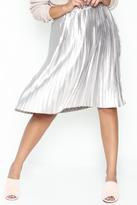 On Twelfth Pleated Metallic Midi Skirt