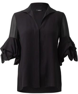 Akris Draped-Sleeve Silk Blouse