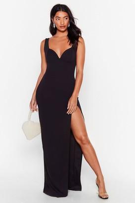 Nasty Gal Womens Plunge Down Slit Maxi Dress - Black - 6, Black