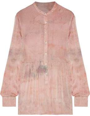Raquel Allegra Empire Tie-dyed Ribbed Washed-silk Blouse